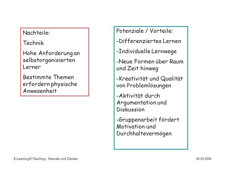 E-Learning/E-Teaching; Manuela und Daniela04.06.2004 Potenziale / Vorteile: -Differenziertes Lernen -Individuelle Lernwege -Neue Formen über Raum und