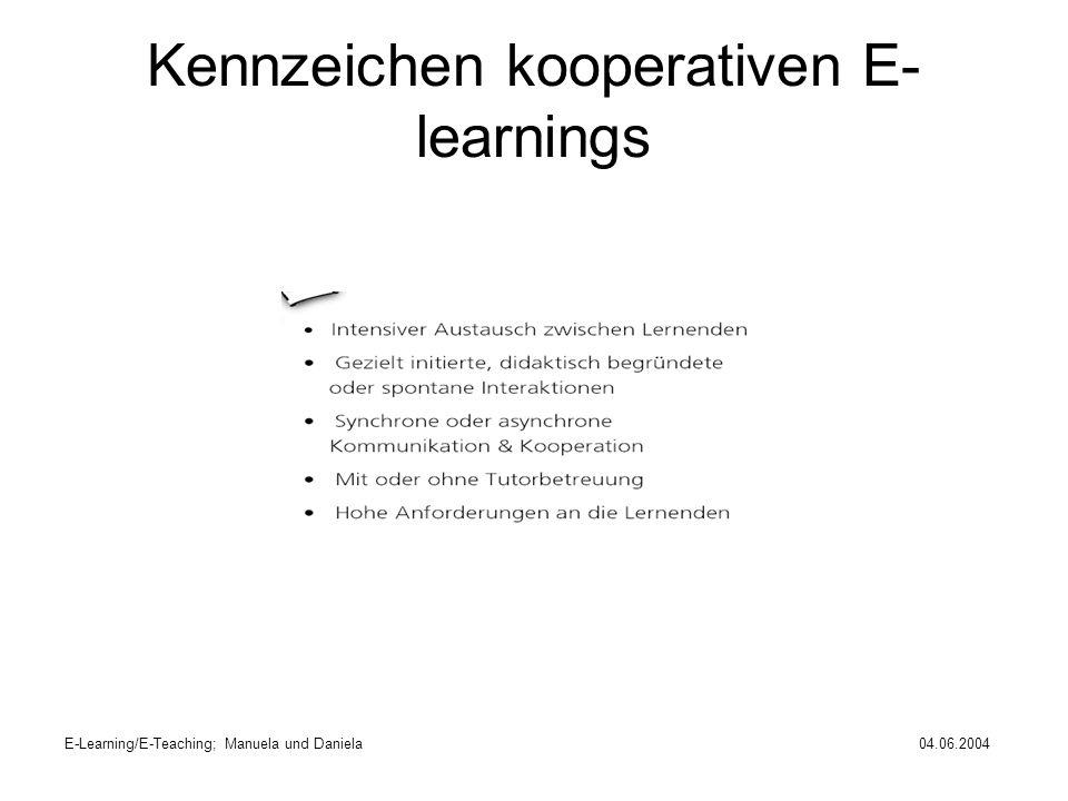 E-Learning/E-Teaching; Manuela und Daniela04.06.2004 Kennzeichen kooperativen E- learnings