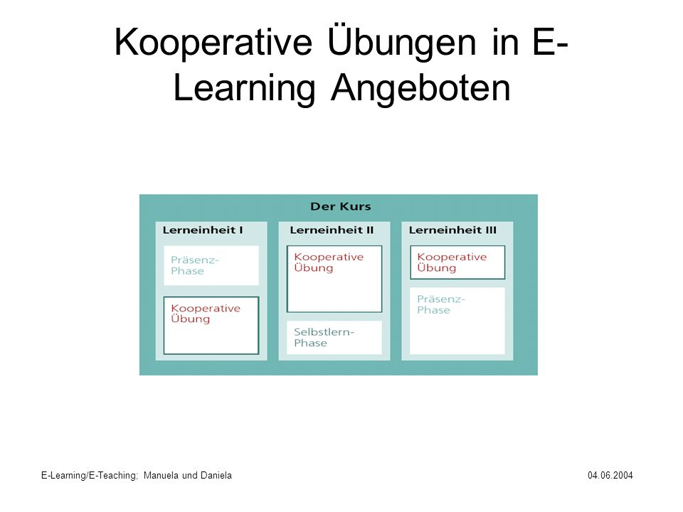 E-Learning/E-Teaching; Manuela und Daniela04.06.2004 Was macht kooperatives E- Learning erfolgreich?