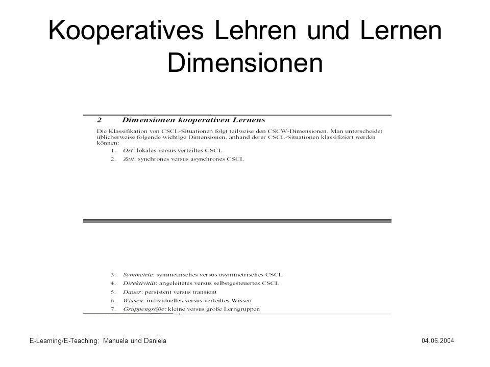 E-Learning/E-Teaching; Manuela und Daniela04.06.2004 Kooperatives Lehren und Lernen Dimensionen