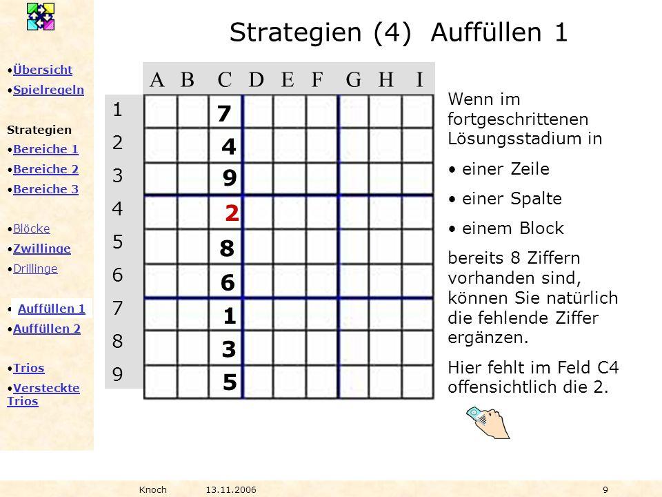Übersicht Spielregeln Strategien Bereiche 1 Bereiche 2 Bereiche 3 Blöcke Zwillinge Drillinge Auffüllen 1 Auffüllen 2 Trios Versteckte TriosVersteckte Trios Knoch13.11.20069 Wenn im fortgeschrittenen Lösungsstadium in einer Zeile einer Spalte einem Block bereits 8 Ziffern vorhanden sind, können Sie natürlich die fehlende Ziffer ergänzen.