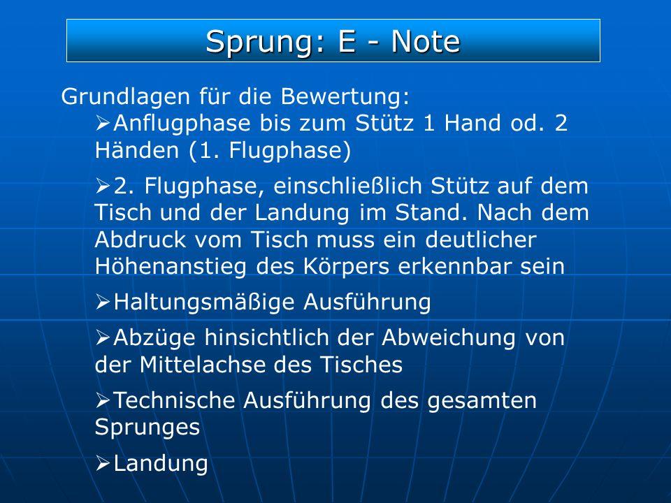 Sprung: E - Note Grundlagen für die Bewertung: Anflugphase bis zum Stütz 1 Hand od. 2 Händen (1. Flugphase) 2. Flugphase, einschließlich Stütz auf dem
