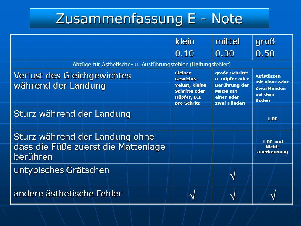 Zusammenfassung E - Note klein0.10mittel0.30groß0.50 Abzüge für Ästhetische- u. Ausführungsfehler (Haltungsfehler) Verlust des Gleichgewichtes während