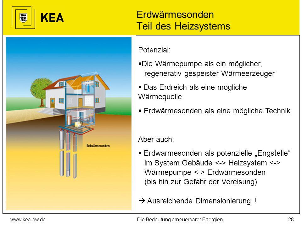 www.kea-bw.deDie Bedeutung erneuerbarer Energien27 Wärmequellen für Wärmepumpen Erdwärmesonden (sinnvoll, wenn Grundwassernutzung nicht möglich, verti