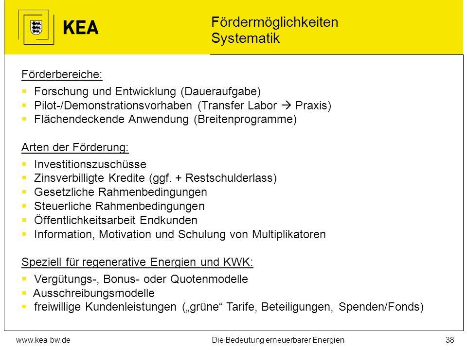 www.kea-bw.deDie Bedeutung erneuerbarer Energien37 Sinnvolle Anwendungsgebiete für Wärmepumpen... in Verbindung mit Niedertemperaturheizsystemen (Fußb