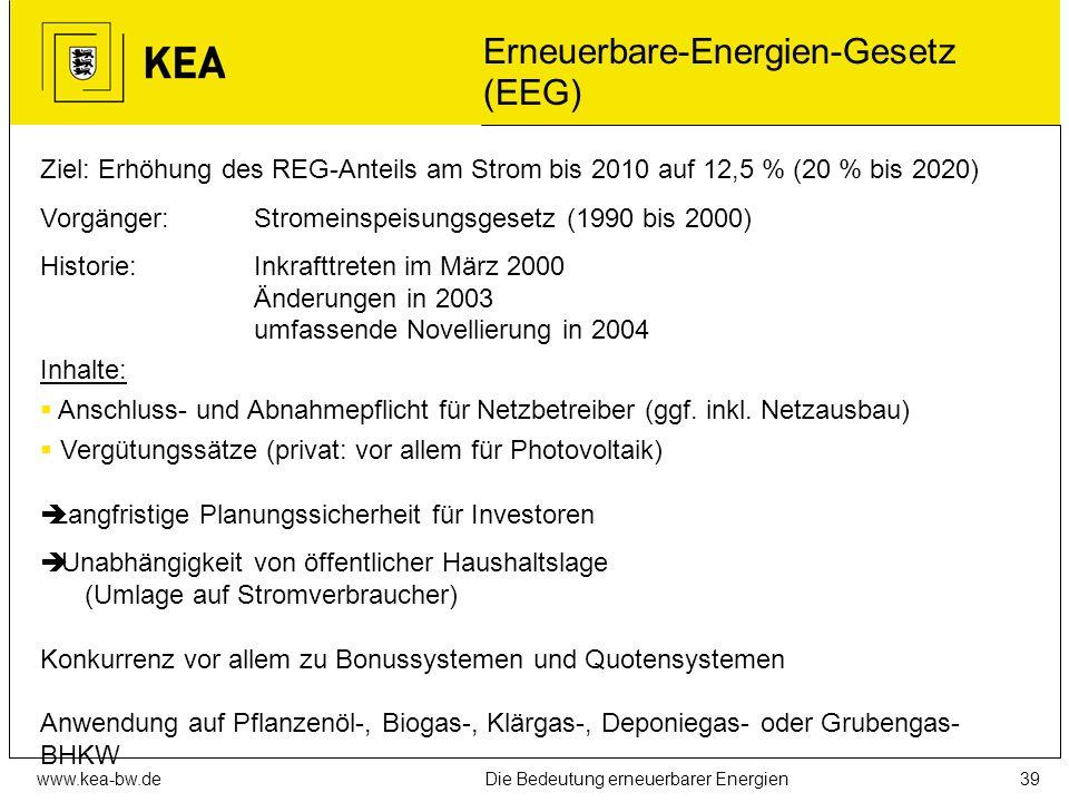 www.kea-bw.deDie Bedeutung erneuerbarer Energien38 Fördermöglichkeiten Systematik Förderbereiche: Forschung und Entwicklung (Daueraufgabe) Pilot-/Demo