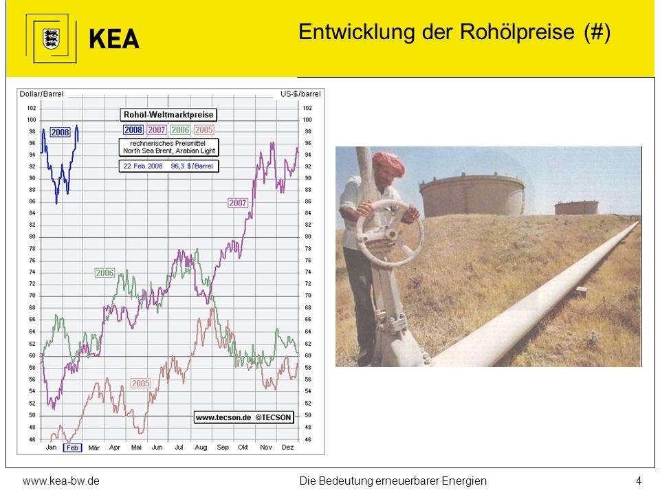 www.kea-bw.deDie Bedeutung erneuerbarer Energien3 Treibhauseffekt und Klimawandel Wirkungskette 1.Verbrennung von fossilen Energieträgern (Kohle, Erdö