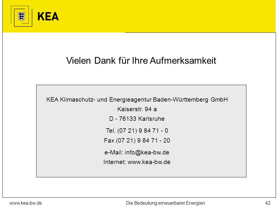www.kea-bw.deDie Bedeutung erneuerbarer Energien41 Information und Beratung Klimaschutz- und Energieagentur Baden-Württemberg, Karlsruhe (www.kea-bw.d
