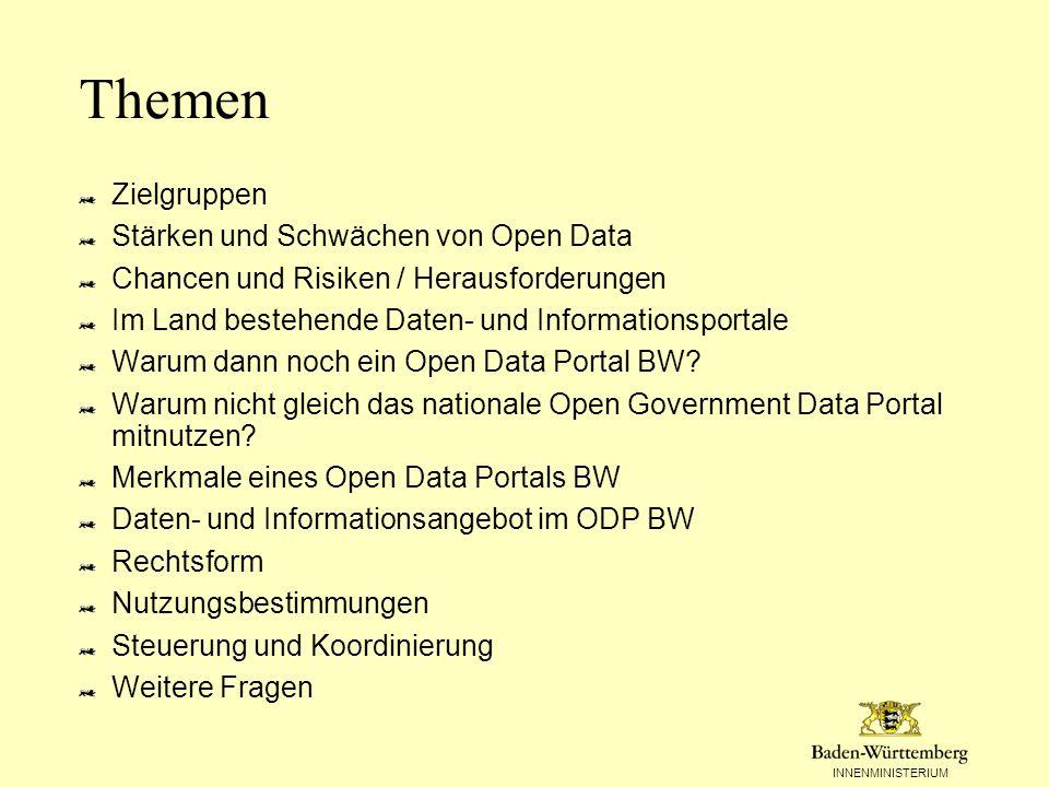 INNENMINISTERIUM Weitere Themen Technik Metadaten Daten, Dokumente und Anwendungen –Struktur –Format Kategorien Formate Daten, Dokumente und Anwendungen Erfassung Metadaten Portalfunktionen Rollen und use-cases Portalarchitektur und -design