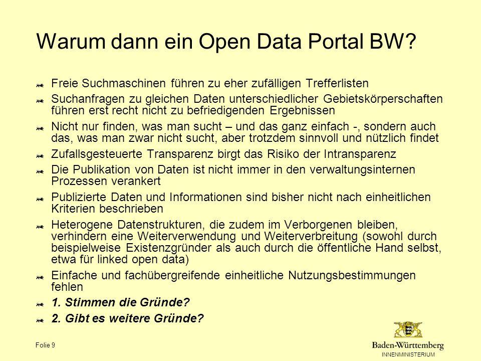 INNENMINISTERIUM Folie 10 Warum nicht gleich auf das nationale Open Government Data Portal.