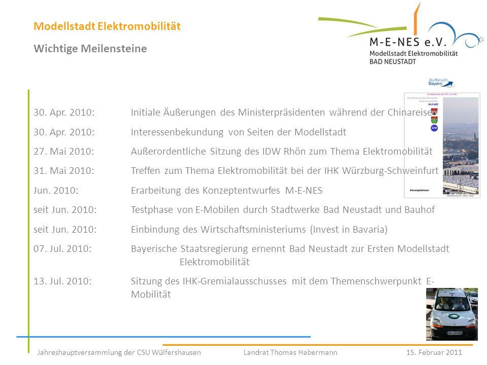 Jahreshauptversammlung der CSU Wülfershausen Landrat Thomas Habermann 15. Februar 2011 Modellstadt Elektromobilität Wichtige Meilensteine 30. Apr. 201
