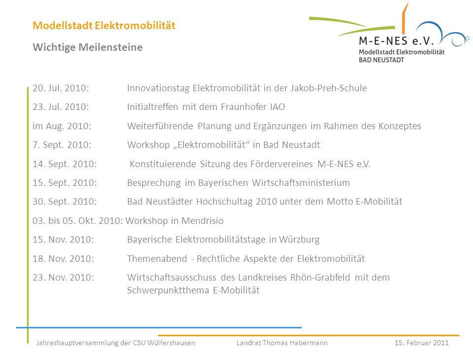 Modellstadt Elektromobilität Wichtige Meilensteine 20. Jul. 2010:Innovationstag Elektromobilität in der Jakob-Preh-Schule 23. Jul. 2010:Initialtreffen