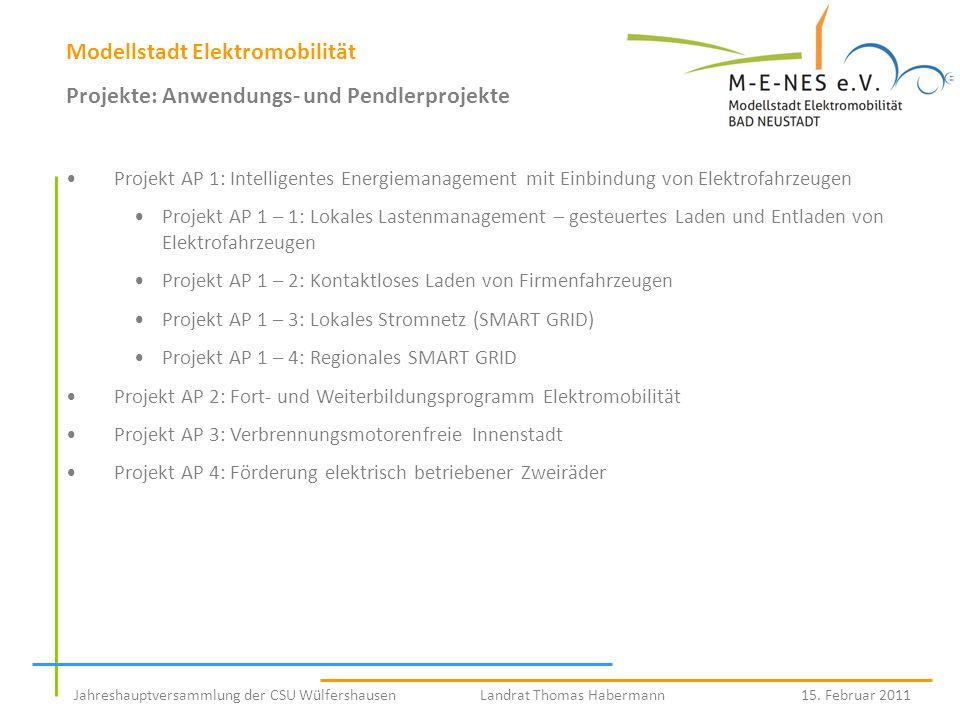 Modellstadt Elektromobilität Projekte: Anwendungs- und Pendlerprojekte Projekt AP 1: Intelligentes Energiemanagement mit Einbindung von Elektrofahrzeu
