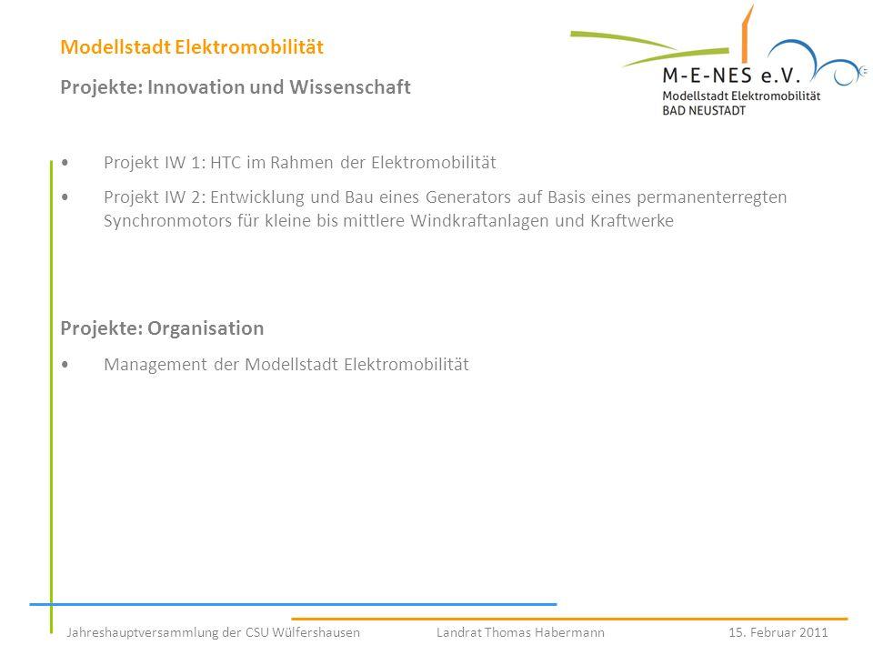 Modellstadt Elektromobilität Projekte: Innovation und Wissenschaft Projekt IW 1: HTC im Rahmen der Elektromobilität Projekt IW 2: Entwicklung und Bau