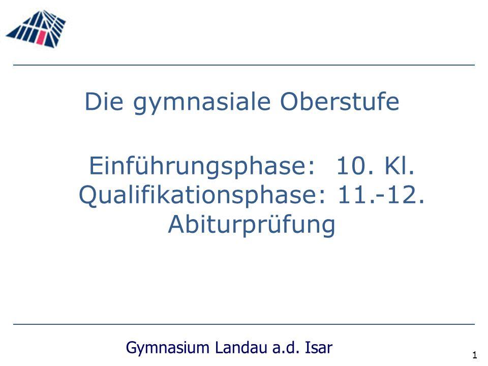 Gymnasium Landau a.d.Isar 1 Die gymnasiale Oberstufe Einführungsphase: 10.