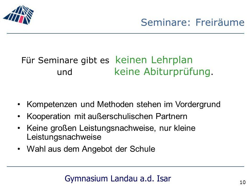 Gymnasium Landau a.d.Isar 10 Für Seminare gibt es keinen Lehrplan und keine Abiturprüfung.