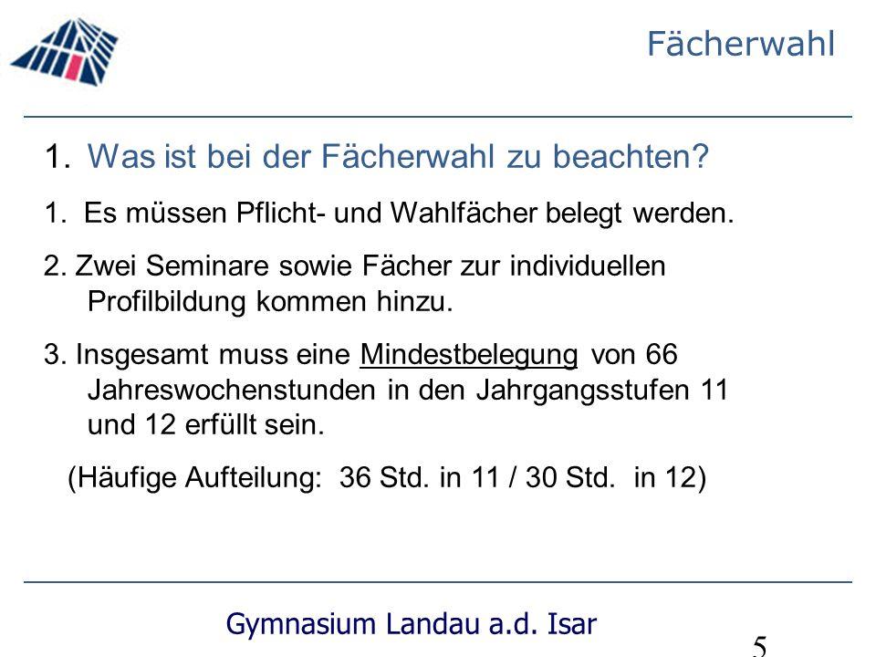 Gymnasium Landau a.d.Isar 5 1.Was ist bei der Fächerwahl zu beachten.