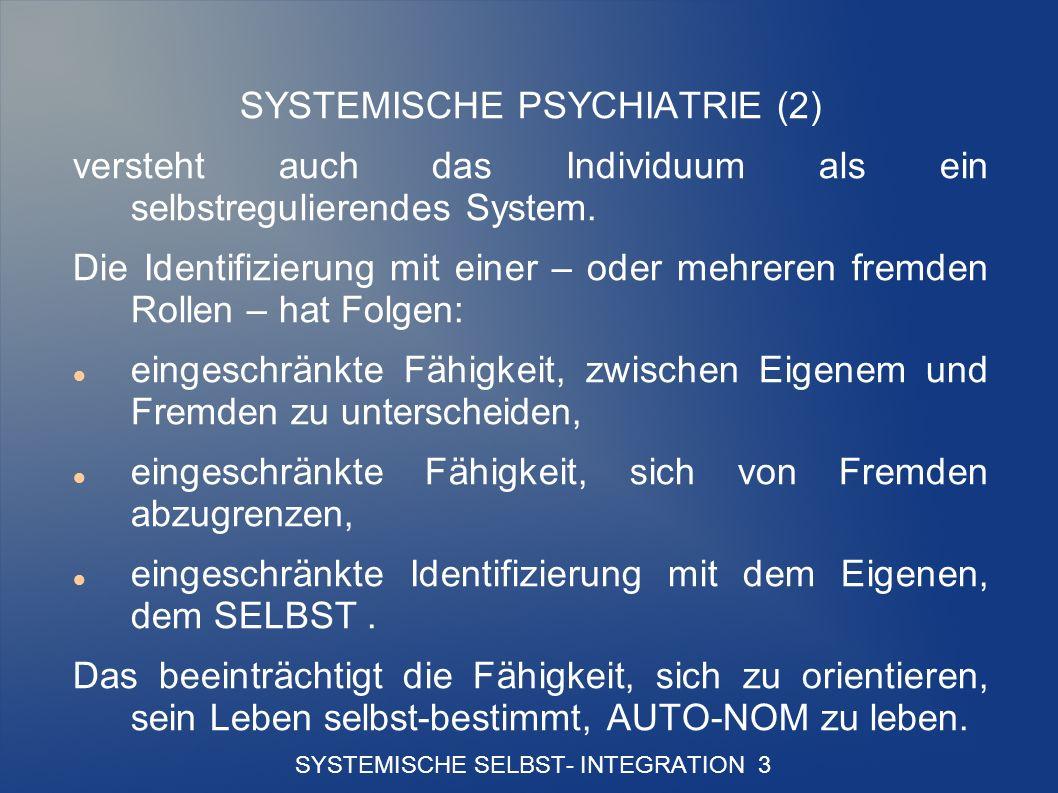 SYSTEMISCHE SELBST- INTEGRATION 3 SYSTEMISCHE PSYCHIATRIE (2) versteht auch das Individuum als ein selbstregulierendes System.
