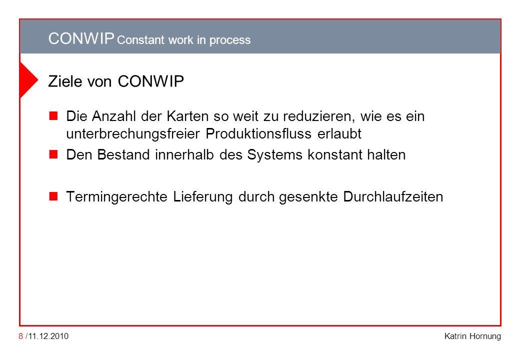 CONWIP CONWIP Constant work in process Katrin Hornung CONWIP Constant work in process 8 /11.12.2010 Ziele von CONWIP Die Anzahl der Karten so weit zu