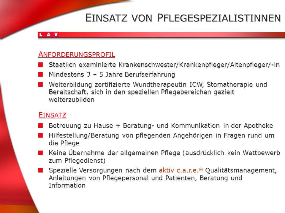 E INSATZ VON P FLEGESPEZIALISTINNEN Staatlich examinierte Krankenschwester/Krankenpfleger/Altenpfleger/-in Staatlich examinierte Krankenschwester/Kran