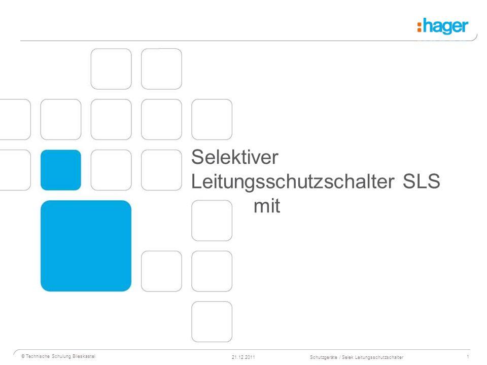 2 © Technische Schulung Blieskastel Schutzgeräte / Selek Leitungsschutzschalter21.12.2011 Normen für SLS-Schalter Gebaut und geprüft nach: E DIN VDE 0643:2003-09 Abschnitte 5 bis 8.18 DIN EN 60947-1 (VDE 0660 Teil100): 2002-12 EN 60947-1: 1999 Abschnitte 8.2.5.2, 8.2.5.3; A1: 2000 und A2: 2003 Gutachten mit Fertigungs- überwachung VDE-Reg.-Nr.