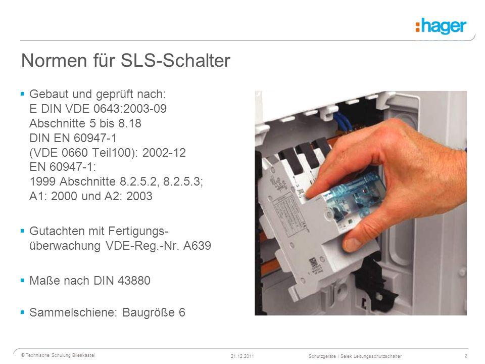 3 © Technische Schulung Blieskastel Schutzgeräte / Selek Leitungsschutzschalter21.12.2011 Eigenschaften von SLS-Schaltern Selektiver Hauptleitungsschutzschalter (SH-Schalter) Der SH-Schalter ist ein strombe- grenzendes, mechanisches Schalt- gerät ohne aktive elektronische Bauelemente, das in der Lage ist, unter betriebsmäßigen Bedingungen Ströme einzuschalten, zu führen und abzuschalten Er muss bis zu bestimmten Grenzen Überströme führen ohne abzu- schalten, wenn diese Überströme im nachgeschalteten Einzelstromkreis auftreten und die Abschaltung durch eine nachgeschaltete Überstrom- Schutzeinrichtung erfolgt