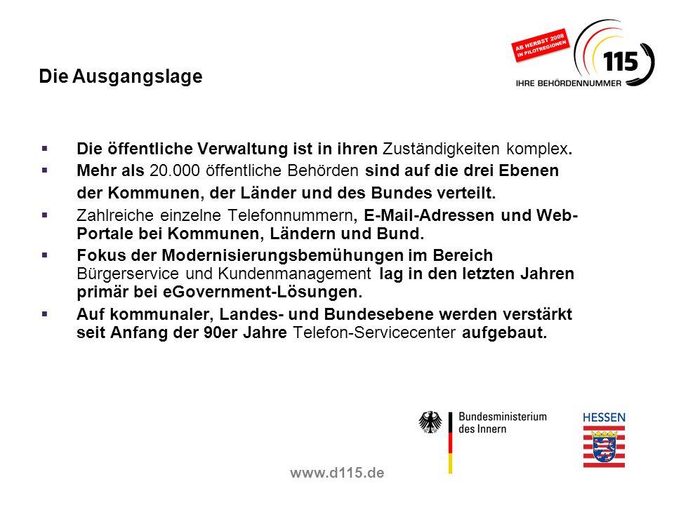 www.d115.de Die öffentliche Verwaltung ist in ihren Zuständigkeiten komplex. Mehr als 20.000 öffentliche Behörden sind auf die drei Ebenen der Kommune