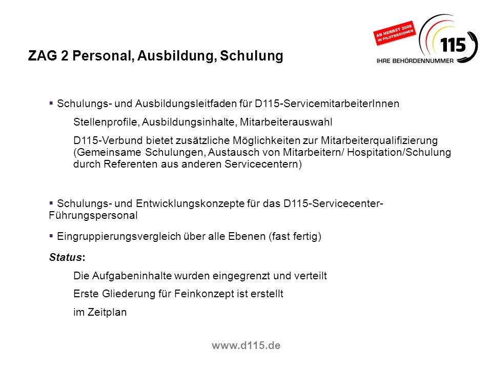 www.d115.de ZAG 2 Personal, Ausbildung, Schulung Schulungs- und Ausbildungsleitfaden für D115-ServicemitarbeiterInnen Stellenprofile, Ausbildungsinhal