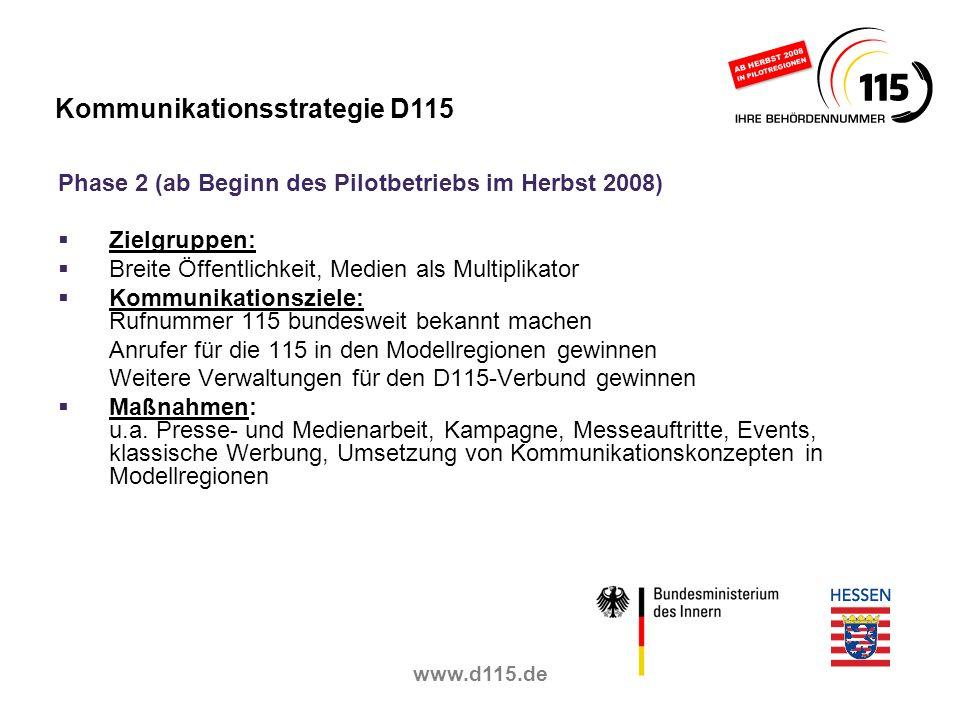 www.d115.de Phase 2 (ab Beginn des Pilotbetriebs im Herbst 2008) Zielgruppen: Breite Öffentlichkeit, Medien als Multiplikator Kommunikationsziele: Ruf