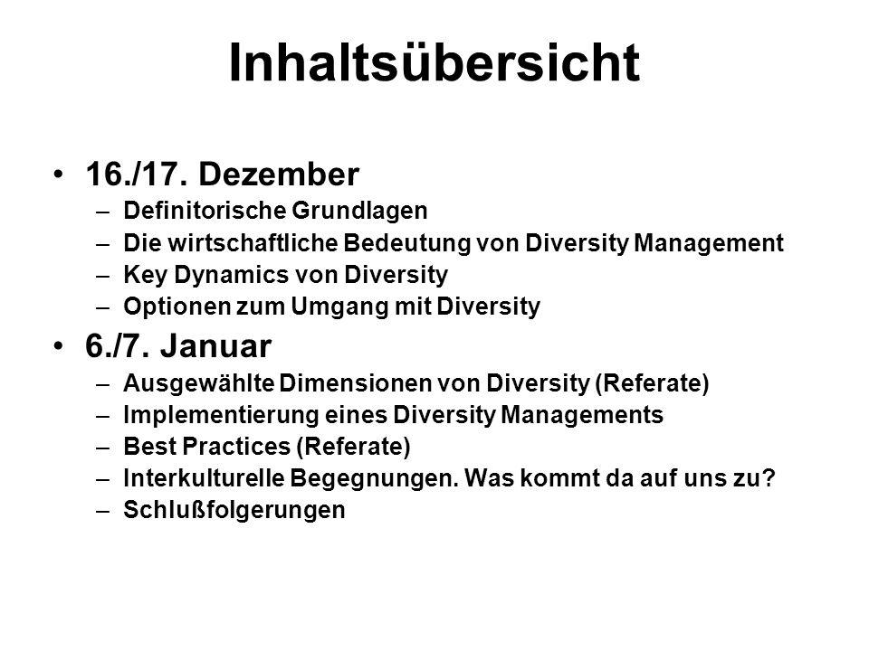 Inhaltsübersicht 16./17. Dezember –Definitorische Grundlagen –Die wirtschaftliche Bedeutung von Diversity Management –Key Dynamics von Diversity –Opti