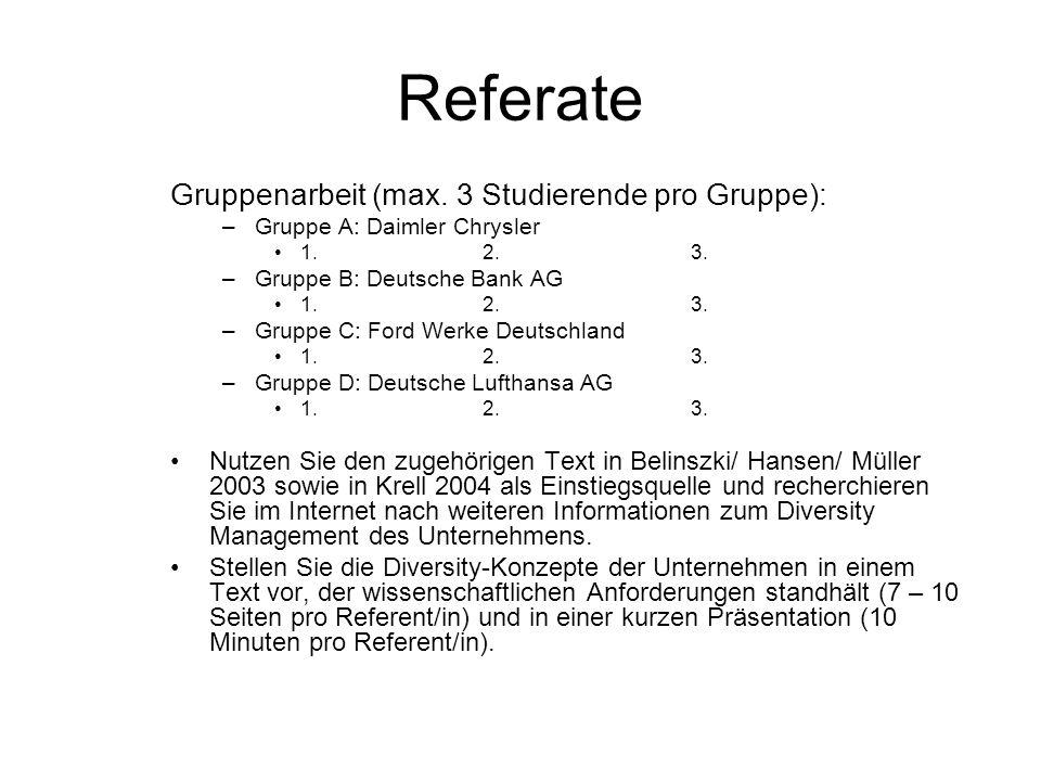 Referate Gruppenarbeit (max. 3 Studierende pro Gruppe): –Gruppe A: Daimler Chrysler 1.2. 3. –Gruppe B: Deutsche Bank AG 1.2. 3. –Gruppe C: Ford Werke
