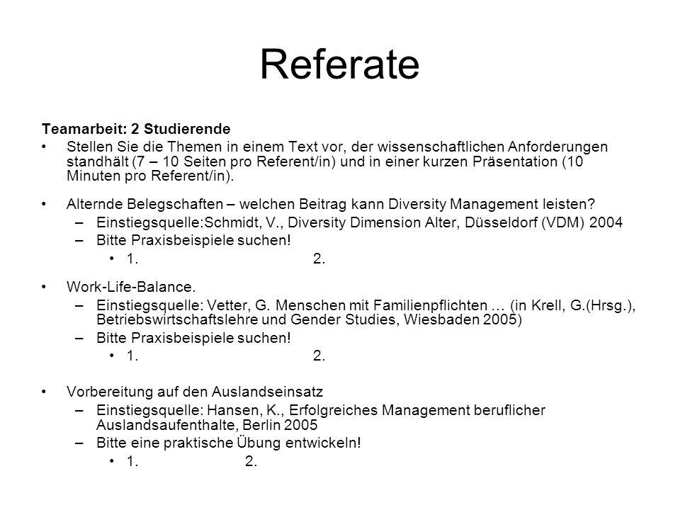 Referate Teamarbeit: 2 Studierende Stellen Sie die Themen in einem Text vor, der wissenschaftlichen Anforderungen standhält (7 – 10 Seiten pro Referen