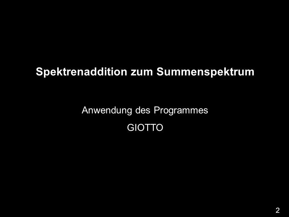 Spektrenaddition zum Summenspektrum Anwendung des Programmes GIOTTO 2