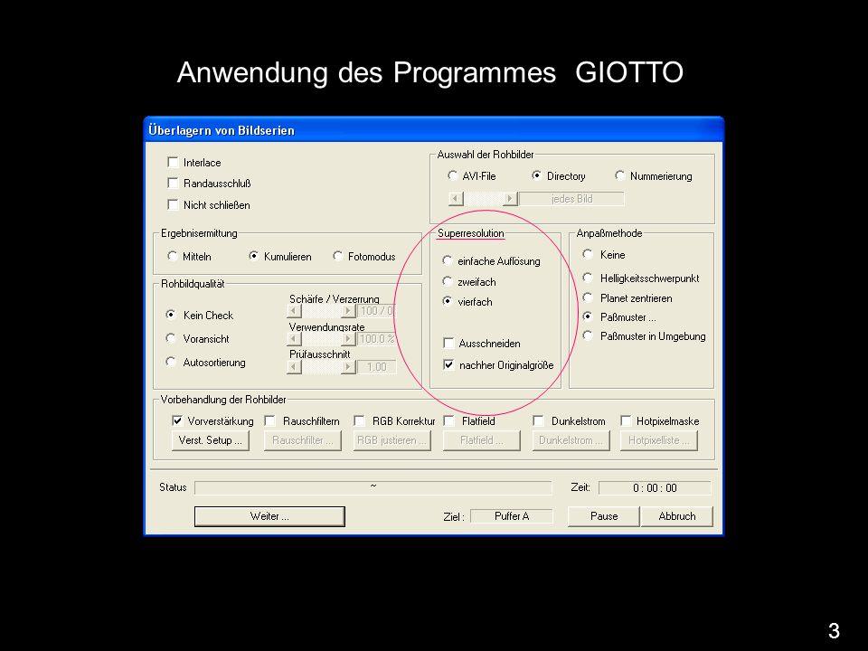 Anwendung des Programmes GIOTTO 3