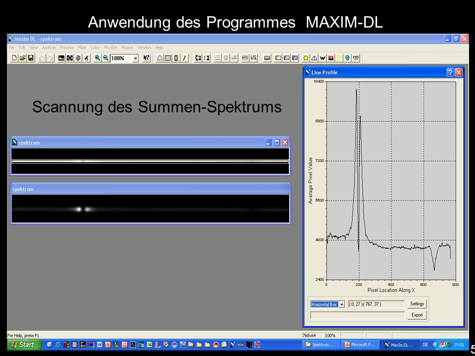 Anwendung des Programmes MAXIM-DL Summenspektrum Scannung des Summen-Spektrums 5