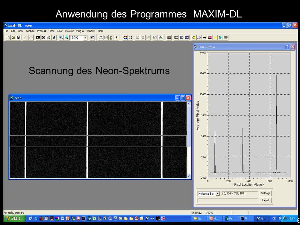 Scannung des Neon-Spektrums Anwendung des Programmes MAXIM-DL 6