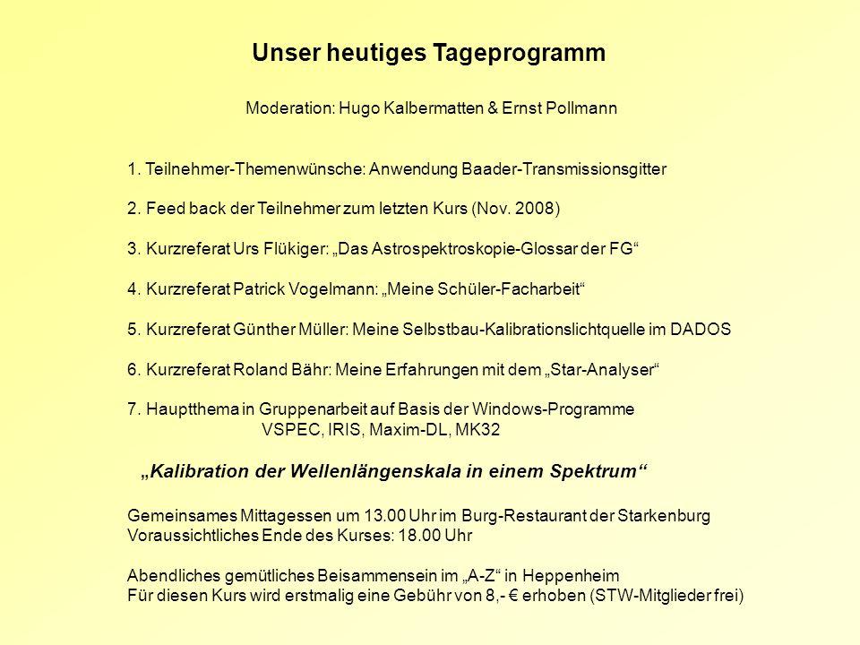 Unser heutiges Tageprogramm Moderation: Hugo Kalbermatten & Ernst Pollmann 1. Teilnehmer-Themenwünsche: Anwendung Baader-Transmissionsgitter 2. Feed b