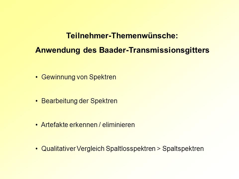 Teilnehmer-Themenwünsche: Anwendung des Baader-Transmissionsgitters Gewinnung von Spektren Bearbeitung der Spektren Artefakte erkennen / eliminieren Q