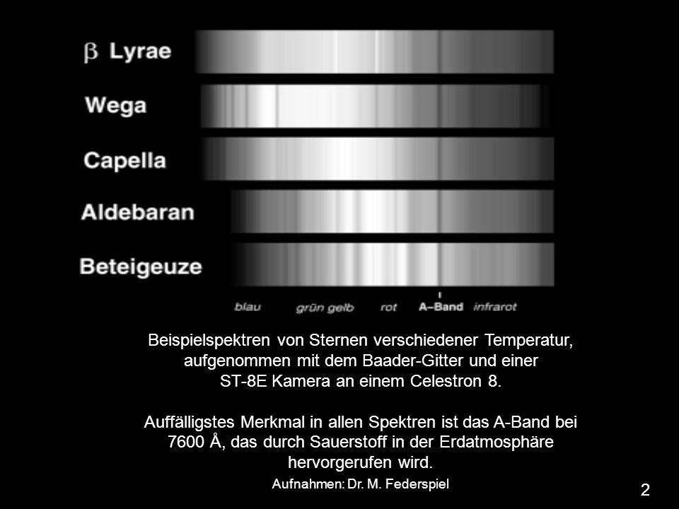 Beispielspektren von Sternen verschiedener Temperatur, aufgenommen mit dem Baader-Gitter und einer ST-8E Kamera an einem Celestron 8. Auffälligstes Me