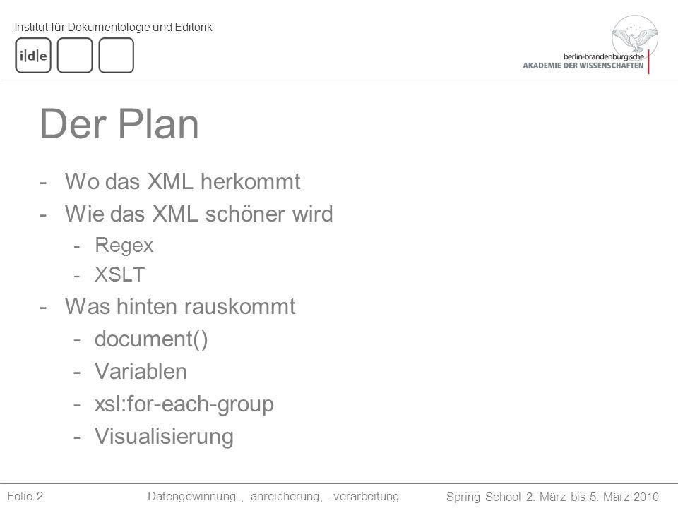 Institut für Dokumentologie und Editorik Spring School 2. März bis 5. März 2010 Datengewinnung-, anreicherung, -verarbeitungFolie 2 Der Plan -Wo das X