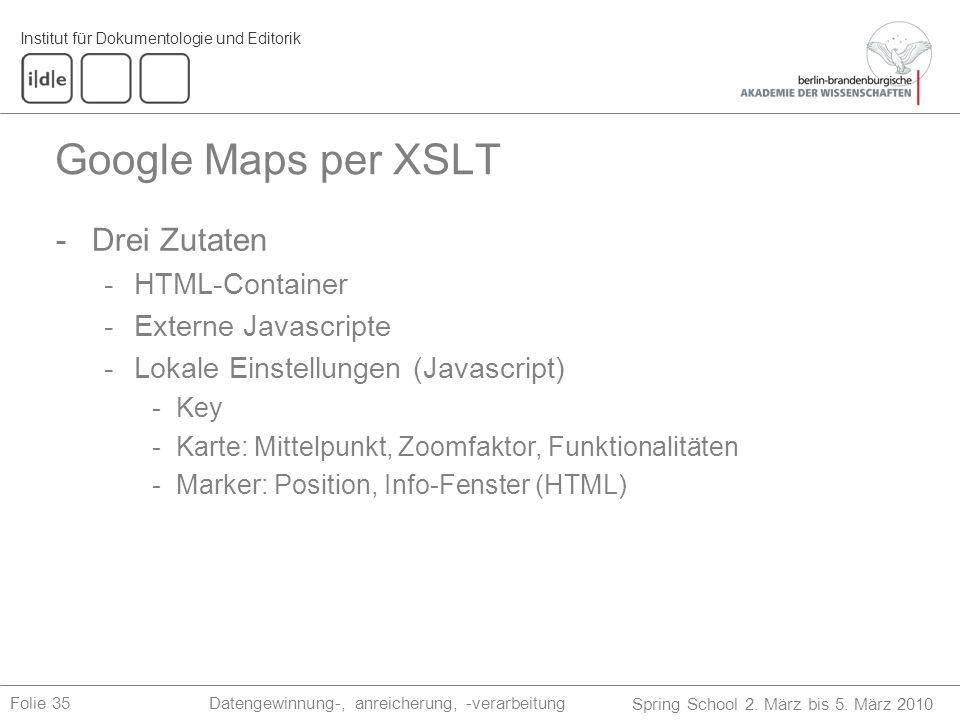 Institut für Dokumentologie und Editorik Spring School 2. März bis 5. März 2010 Datengewinnung-, anreicherung, -verarbeitungFolie 35 Google Maps per X