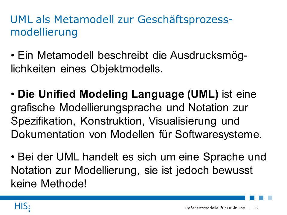 12 Referenzmodelle für HISinOne UML als Metamodell zur Geschäftsprozess- modellierung Ein Metamodell beschreibt die Ausdrucksmög- lichkeiten eines Objektmodells.
