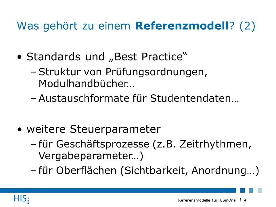 5 Referenzmodelle für HISinOne Wozu sind Referenzmodelle da.