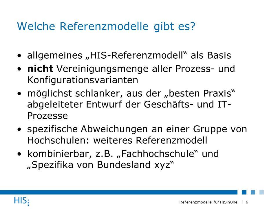7 Referenzmodelle für HISinOne Umgang mit den Referenzmodellen – das Modell Hochschule (1) HIS-Referenzmodell wird durch ggf.