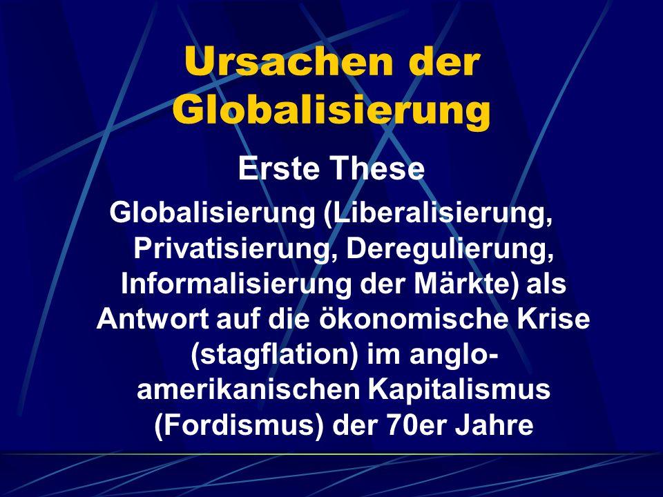 Ursachen der Globalisierung Erste These Globalisierung (Liberalisierung, Privatisierung, Deregulierung, Informalisierung der Märkte) als Antwort auf d
