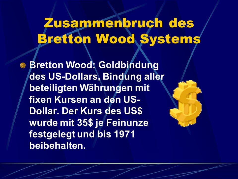 Zusammenbruch des Bretton Wood Systems Bretton Wood: Goldbindung des US-Dollars, Bindung aller beteiligten Währungen mit fixen Kursen an den US- Dolla