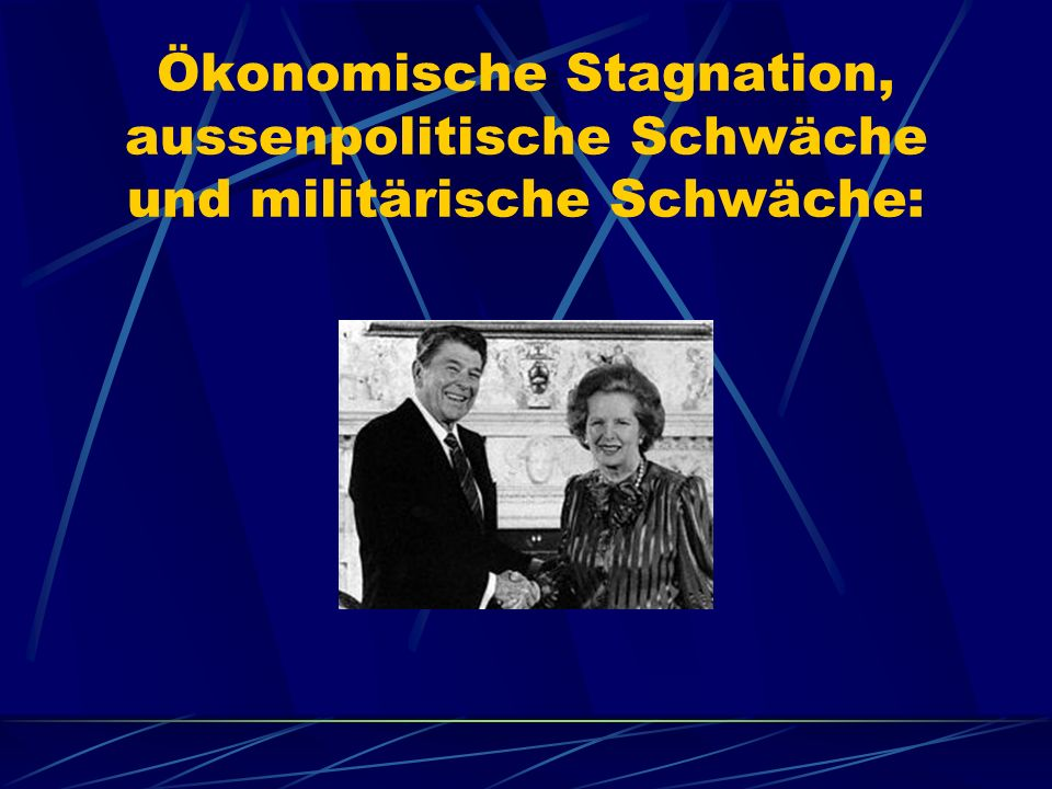 Neoliberale Antwort: Präsident Reagan sowie Margaret Thatcher traten mit einer radikalen free market Ideologie des Monetarismus an, der den nachfrageorientierten Keynesianism und den damit verbundenen Sozialstaat zum Sündbock der ökonomischen und moralischen Probleme im anglo-amerikanischen Kapitalismus machte.