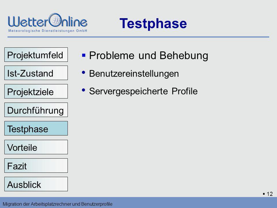 12 Testphase Migration der Arbeitsplatzrechner und Benutzerprofile Vorteile Fazit Ausblick Probleme und Behebung Benutzereinstellungen Servergespeiche