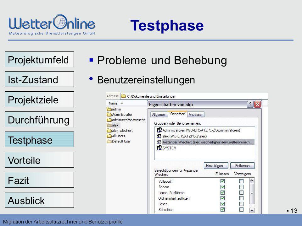 13 Testphase Migration der Arbeitsplatzrechner und Benutzerprofile Vorteile Fazit Ausblick Probleme und Behebung Benutzereinstellungen Testphase Proje