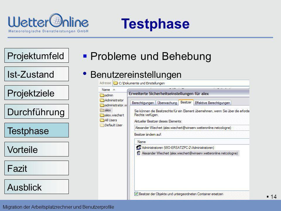 14 Testphase Migration der Arbeitsplatzrechner und Benutzerprofile Vorteile Fazit Ausblick Probleme und Behebung Benutzereinstellungen Testphase Proje